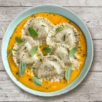 Legume Girasoli, with chickpeas and lentils, on a pumpkin and sage cream sauce