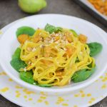 Gluten-free Tagliatelle with pumpkin, spinach and peanuts