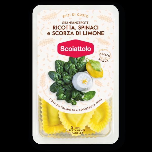Granpanzerotti ricotta, spinaci e scorza di limone