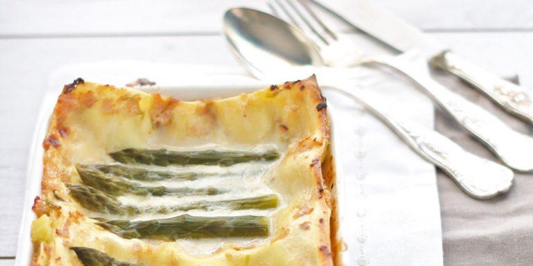 Lasagne con asparagi e prosciutto di Praga