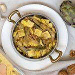 Ricetta con Quadrucci alla carne: paste con carciofi e noci mantecate al Parmigiano che sanno di primavera