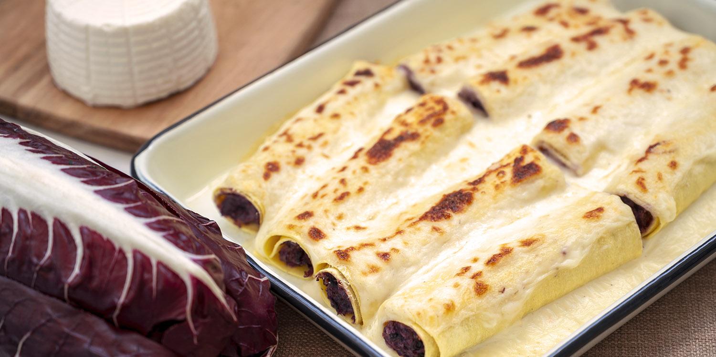 Un primo piatto bilanciato con le nuove sfoglie fresche all'uovo: Cannelloni ricotta e radicchio